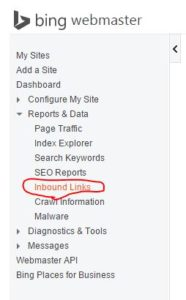 backlinks data in bing webmaster tool